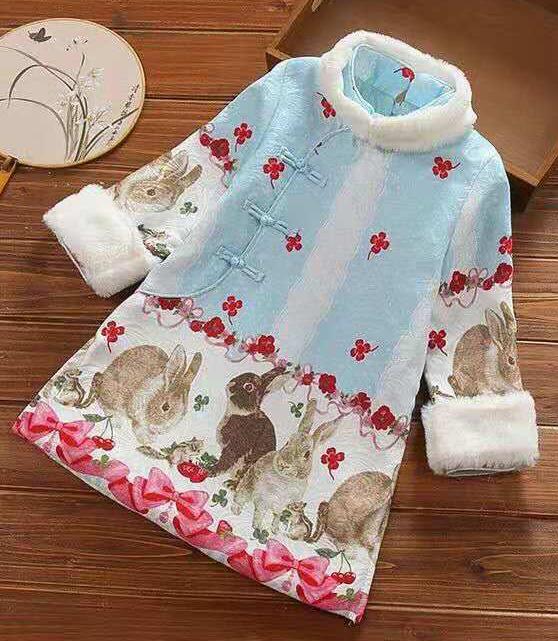 7Fairy Kids' Cute Pink Blue Cotton Quilted Rabbit Chinese Dress Cheongsam Qipao