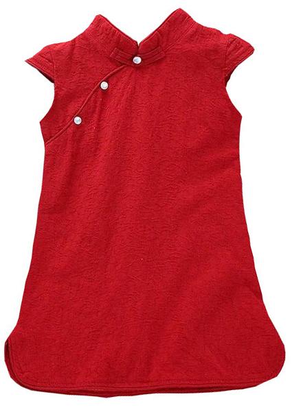 7Fairy Kids' Cute Red Cotton Chinese Dress Cheongsam Qipao Cap Sleeves