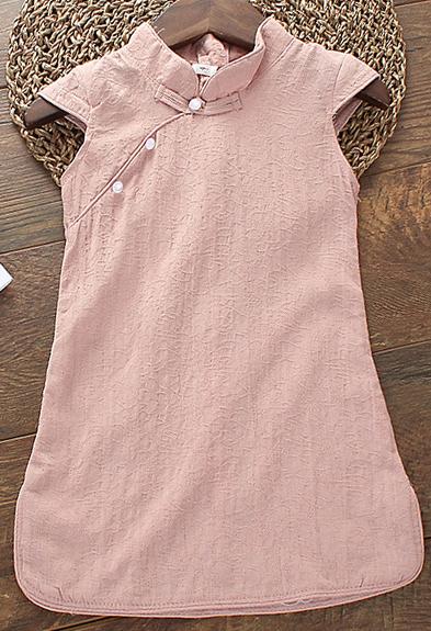 7Fairy Kids' Cute Pink Cotton Chinese Dress Cheongsam Qipao Cap Sleeves