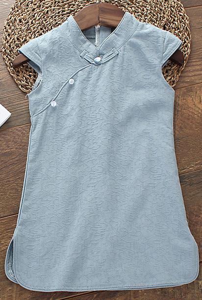 7Fairy Kids' Cute Blue Cotton Chinese Dress Cheongsam Qipao Cap Sleeves