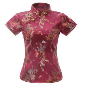 7Fairy Women's Traditional Burgundy Dragon Chinese Shirt Cheongsam Qipao Style