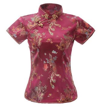 7Fairy Women's Traditional Burgundy Dragon Chinese Shirt Cheongsam Qipao Style