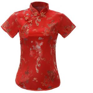 7Fairy Women's Traditional Red Dragon Chinese Shirt Cheongsam Qipao Style