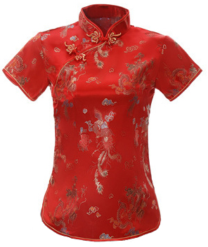 7Fairy Women's Traditional Red Dragon Chinese Shirt Cheongsam Qipao Style