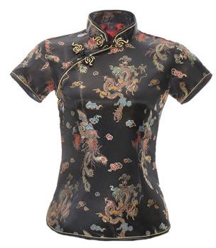 7Fairy Women's Traditional Black Dragon Chinese Shirt Cheongsam Qipao Style