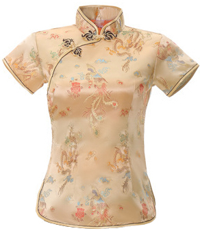 7Fairy Women's Traditional Gold Dragon Chinese Shirt Cheongsam Qipao Style