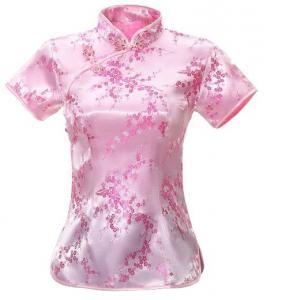7Fairy Women's Traditional Pink Flower Chinese Shirt Cheongsam Qipao Style