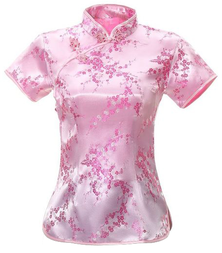 7Fairy Women's Traditional Pink Flower Chinese Shirt Cheongsam Qipao Style