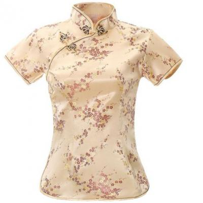 7Fairy Women's Traditional Gold Flower Chinese Shirt Cheongsam Qipao Style