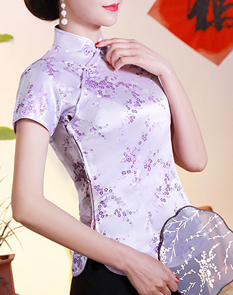 7Fairy Women's Traditional Lilac Flower Chinese Shirt Cheongsam Qipao Style