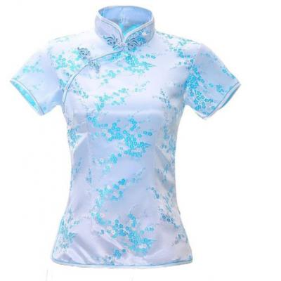 7Fairy Women's Traditional Light Blue Flower Chinese Shirt Cheongsam Qipao Style