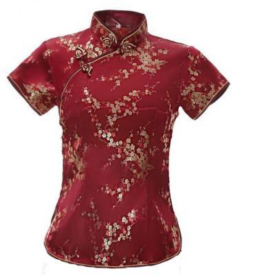 7Fairy Women's Traditional Burgundy Flower Chinese Shirt Cheongsam Qipao Style