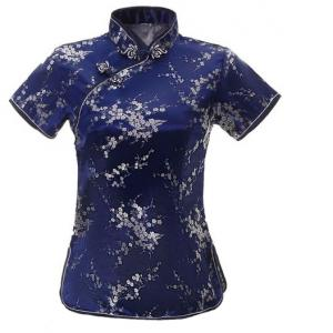 7Fairy Women's Traditional Navy Blue Flower Chinese Shirt Cheongsam Qipao Style