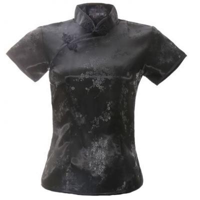 7Fairy Women's Traditional Black Flower Chinese Shirt Cheongsam Qipao Style