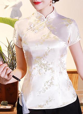 7Fairy Women's Traditional Light Yellow Flower Chinese Shirt Cheongsam Qipao Style